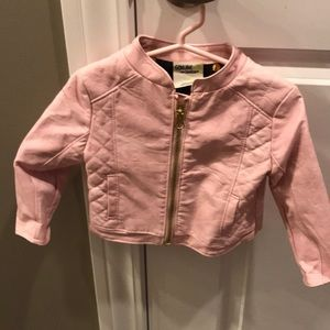 Toddler faux leather pink jacket